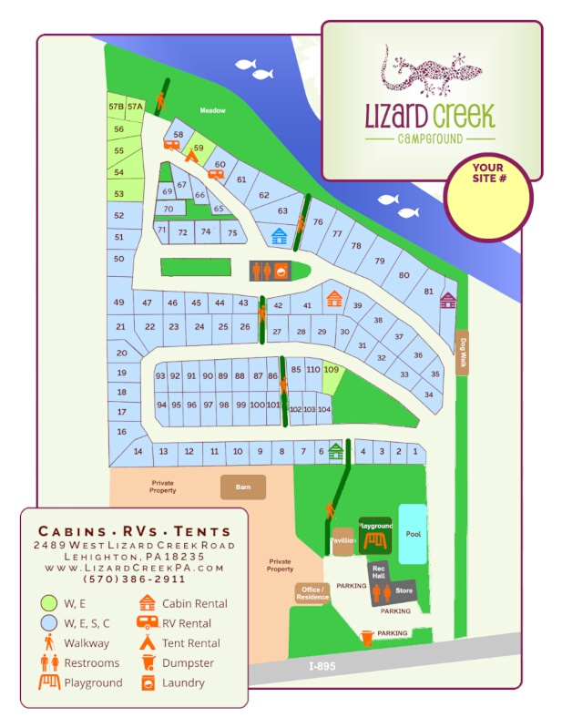 Lizard Creek Campground Sites Map